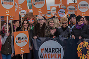 The March over Tower Bridge is led by Muzoon, Annie Lennox, Sadiq Khan and Binca Jagger - Thousands join CARE International's #March4Women campaign in London celebrating International Women's Day.