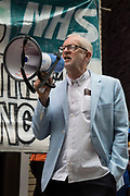Former Labour Party leader Jeremy Corbyn addresses health workers and supporters at a rally organised by Doctors in Unite outside the Department of Health and Social Care on 5th July 2021 in London, United Kingdom. The rally was organised to mark the 73rd birthday of the National Health Service and in protest against the sale of one of the UK's biggest GP practice operators to the US health insurance group Centene Corporation.