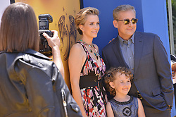 """(L-R) Kristen Wiig, Nev Scharrel and Steve Carell arrives at the """"Despicable Me 3"""" Los Angeles Premiere held at the Shrine Auditorium in Los Angeles, CA on Saturday, June 24, 2017.  (Photo By Sthanlee B. Mirador) *** Please Use Credit from Credit Field ***"""
