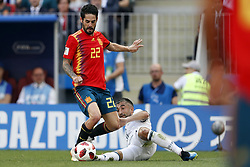 (l-r) Isco of Spain, Aleksandr Samedov of Russia during the 2018 FIFA World Cup Russia round of 16 match between Spain and Russia at the Luzhniki Stadium on July 01, 2018 in Moscow, Russia