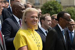 """Virginia Rometty, Mark Zuckerberg and Paul Kagame doing a family picture during the """"Tech for Good"""" summit over lunch with tech companies CEOs at the Elysee Palace, Paris, France, on May 23, 2018. Photo by Jacques Witt/pool/ABACAPRESS.COM"""