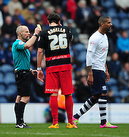 Queens Park Rangers' Gabriele Angella is shown a yellow card by Referee Andy Woolmer<br /> <br /> Photographer Chris Vaughan/CameraSport<br /> <br /> Football - The Football League Sky Bet Championship - Preston North End v Queens Park Rangers - Saturday 19th March 2016 - Deepdale - Preston <br /> <br /> © CameraSport - 43 Linden Ave. Countesthorpe. Leicester. England. LE8 5PG - Tel: +44 (0) 116 277 4147 - admin@camerasport.com - www.camerasport.com