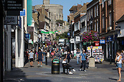 Local residents and visitors frequent town centre shops on 17 September 2020 in Windsor, United Kingdom. There was a substantial increase in new COVID-19 cases in the Royal Borough of Windsor and Maidenhead between 7th-13th September, rising from 30 cases the previous week to 57 for a total to date in September of 107 positive coronavirus cases as compared to 83 in the whole of August and 23 in July.