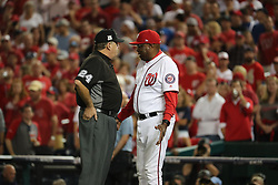 October 6, 2017 - Washington, DC, USA - Washington Nationals manager Dusty Baker (12) complains to umpire Jerry Layne (24) in the ninth inning against the Chicago Cubs in Game 1 of the National League Division Series on Friday, Oct. 6, 2017, at Nationals Park in Washington, D.C. The Cubs won, 3-0. (Credit Image: © Brian Cassella/TNS via ZUMA Wire)