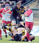 Wycombe. GREAT BRITAIN, 24th October 2004 <br /> Heineken Cup Rugby, London Wasps v Biarritz,  Adams Park, ENGLAND. Photo, Peter Spurrier/Intersport-images]<br /> Biarritz's, Jimmy Marlu on the charge.<br /> ,