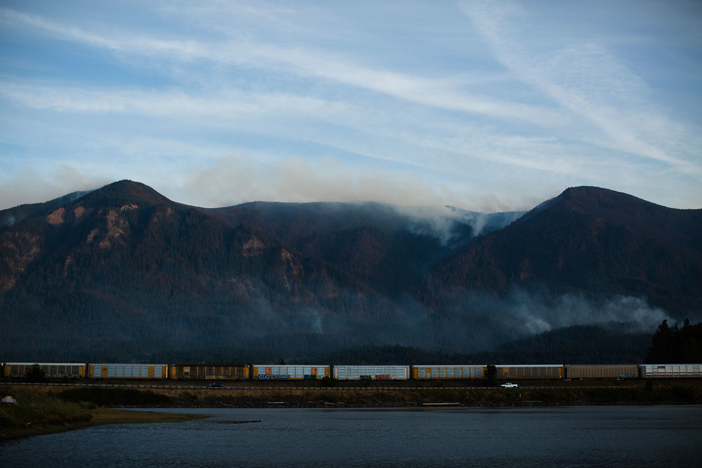 Sept. 13, 2017 | Views of the Eagle Creek Fire in the Columbia River Gorge in Oregon from a Red Cross evacuation site in Stevenson, WA, across the Columbia River.