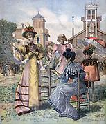 Springtime in Paris:  Women at a race meeting at Longchamp, France's most famous racecourse, first race run on Sunday, 27 April 1857.  From 'Le Petit Journal', Paris, 29 April 1893. Fashion, Sport, Horse, Hippodrome
