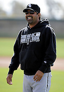 GLENDALE, AZ - FEBRUARY 24:  Manager Ozzie Guillen #13 of the Chicago White Sox smiles during a workout on February 24, 2010 at the White Sox training facility at Camelback Ranch in Glendale, Arizona. (Photo by Ron Vesely)