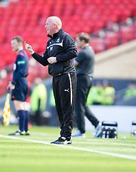 Falkirk's manager Peter Houston.<br /> half time : Hibernian 0 v 0  Falkirk, William Hill Scottish Cup semi-final, played 18/4/2015 at Hamden Park, Glasgow.