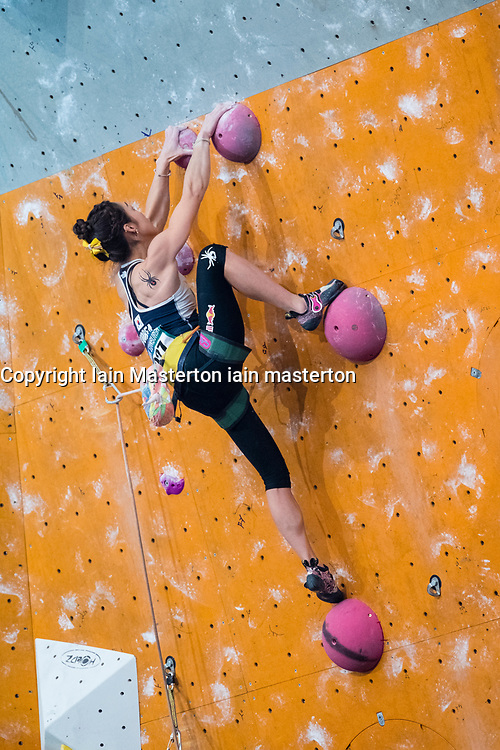 Jain Kim of South Korea competes in Lead Women's event at the International Federation of Sport Climbing (IFSC) World Cup 2017 at Edinburgh International Climbing Arena, Scotland, United Kingdom.