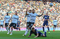 Leeds United's Liam Cooper is tackled by Derby County's Bradley Johnson<br /> <br /> Photographer Alex Dodd/CameraSport<br /> <br /> The EFL Sky Bet Championship Play-off  First Leg - Derby County v Leeds United - Thursday 9th May 2019 - Pride Park - Derby<br /> <br /> World Copyright © 2019 CameraSport. All rights reserved. 43 Linden Ave. Countesthorpe. Leicester. England. LE8 5PG - Tel: +44 (0) 116 277 4147 - admin@camerasport.com - www.camerasport.com