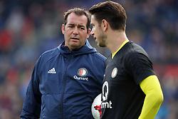 (l-r) keeper trainer Khalid Benlahsen, keeper Brad Jones of Feyenoord during the Dutch Eredivisie match between Feyenoord Rotterdam and Ajax Amsterdam at the Kuip on October 22, 2017 in Rotterdam, The Netherlands