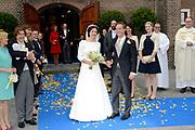 Bruiloft van Viktória Cservenyák met prins Jaime de Bourbon de Parme in de Onze Lieve Vrouwe ten Hemelopnemingkerk, Apeldoorn.<br /> <br /> Wedding of Viktoria Cservenyák with Prince Jaime de Bourbon Parme in Our Lady at Ascension Church, Apeldoorn.<br /> <br /> Op de foto / On the photo: <br /> <br /> <br /> <br />  Prins Jaime de Bourbon de Parme en Viktoria Cservenyak verlaten de Onze Lieve Vrouwe ten Hemelopnemingkerk, nadat het kerkelijk huwelijk is gesloten. <br /> <br /> Prince Jaime de Bourbon Parme and Viktoria Cservenyak leave the Our Lady at Ascension Church, after the church wedding is closed.