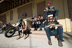 The Bastard Alliance - A group of Orlando riding friends hanging out at the Biltwell Bash at Robison's Cycles during the Daytona Bike Week 75th Anniversary event. FL, USA. Friday March 11, 2016.  Photography ©2016 Michael Lichter.