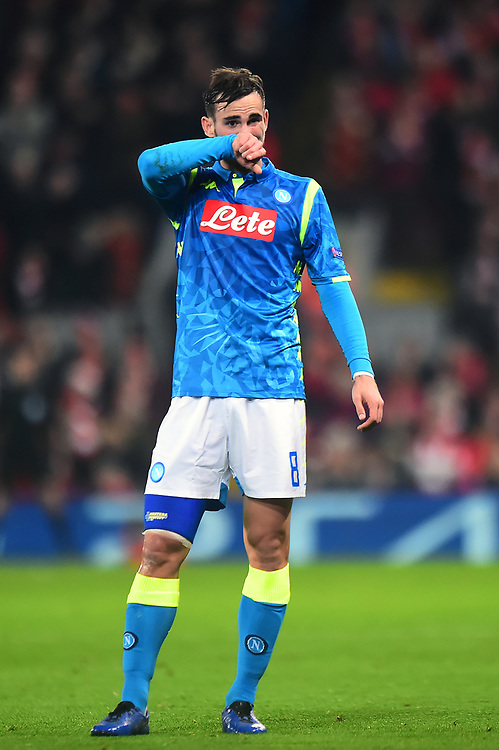 Napoli's Fabian reacts<br /> <br /> Photographer Richard Martin-Roberts/CameraSport<br /> <br /> UEFA Champions League Group C - Liverpool v Napoli - Tuesday 11th December 2018 - Anfield - Liverpool<br />  <br /> World Copyright © 2018 CameraSport. All rights reserved. 43 Linden Ave. Countesthorpe. Leicester. England. LE8 5PG - Tel: +44 (0) 116 277 4147 - admin@camerasport.com - www.camerasport.com