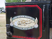 Back view of an antique J.I. Case steam tractor; Rock River Thresheree, Edgerton, WI; 2 Sept 2013