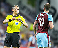 Burnley's Ashley Barnes has a word with referee Massimiliano Irrati<br /> <br /> Photographer Alex Dodd/CameraSport<br /> <br /> UEFA Europa League - Europa League Qualifying Round 2 2nd Leg - Burnley v Aberdeen - Thursday 2nd August 2018 - Turf Moor - Burnley<br />  <br /> World Copyright © 2018 CameraSport. All rights reserved. 43 Linden Ave. Countesthorpe. Leicester. England. LE8 5PG - Tel: +44 (0) 116 277 4147 - admin@camerasport.com - www.camerasport.com