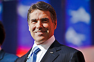 Rick Perry..Eight republican candidates for US President face off at a debate held at the Ronald Reagan Library. The debate was sponsored by NBC News and POLITICO, and was moderated by Brian Williams, anchor of NBC Nightly News.