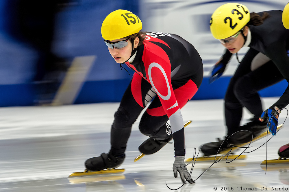 March 20, 2016 - Verona, WI - Isabella Main, skater number 157 competes in US Speedskating Short Track Age Group Nationals and AmCup Final held at the Verona Ice Arena.
