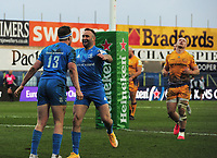 Rugby Union - 2020 / 2021  ER Champions Heineken Cup - Quarter-final - Exeter Chiefs vs Leinster - Sandy Park<br /> <br /> Rory O'Loughlin of Leinster celebrates his late try with Hugo Keenan<br /> <br /> Credit : COLORSPORT/ANDREW COWIE