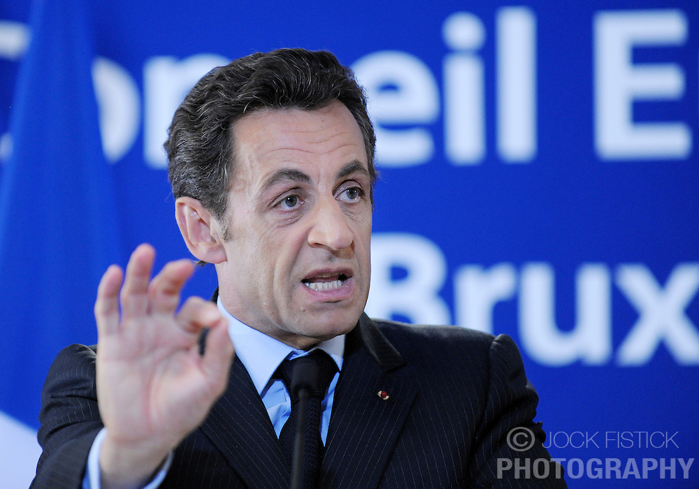 Nicolas Sarkozy, France's president, speaks during a news conference following the close of the European Summit, Friday, March 20, 2009, in Brussels, Belgium. (Photo © Jock Fistick)