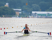 Poznan, POLAND, 21.06.19,  Friday,  USA. FRA LW1X.,  Marion COLARD, at the start of her heat, FISA World Rowing Cup II, Malta Lake Course, © Peter SPURRIER/Intersport Images, <br /> <br /> 09:38:11