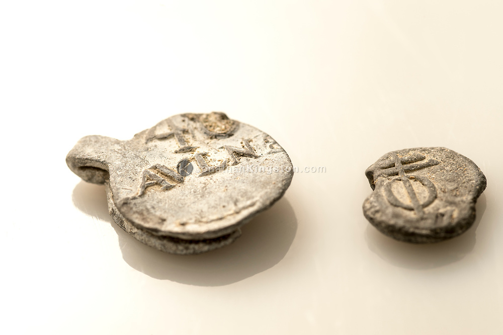 17th century cargo seals found on the shipwreck of the Encarnación, a cargo vessel that was part of the Spanish Tierra Firme fleet in Panama. The seals were usually used to secure bolts of fabric for transport, and were discovered while searching for Henry Morgan's lost flagship Satisfaction and are in conservation at the Patronato Panama Viejo museum in Panama City, Panama.