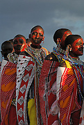 Masai women lining up to do a traditional dance and song.