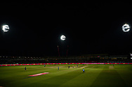 The Edgbaston floodlights light up the ground as the final is played  during the Vitality T20 Finals Day 2019 match between Worcestershire County Cricket Club and Essex County Cricket Club at Edgbaston, Birmingham, United Kingdom on 21 September 2019.