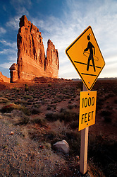 Pedestrian Crossing in Hula Sign and Courthouse Towers, Arches National Park, Utah, US