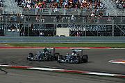 October 30-November 2 : United States Grand Prix 2014, Lewis Hamilton (GBR), Mercedes Petronas passes Nico Rosberg  (GER), Mercedes Petronas