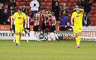 Sheffield Utd celebrate during the The FA Cup match between Sheffield Utd and Plymouth Argyle at Bramall Lane, Sheffield, England on 6 December 2014.