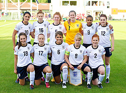 28.08.2013, Richmond Park, Carmarthen, ENG, UEFA Damen U19 EM, England vs Finnland, im Bild England players line up for a team group photograph before the Semi-Final match against Finland of the UEFA Women's Under-19 Championship Wales 2013 tournament at Richmond Park. Back row L-R: Jessica Sigsworth, Meaghan Sergeant, Aoife Mannion, goalkeeper Elizabeth Durack, Nikita Parris, Melissa Lawley. Front row L-R: Katie Zelem, Bethany Mead, Paige Williams, Sherry McCue, Martha Harris. during the UEFA women U 19 championchip group A match between England and Finland at Richmond Park in Carmarthen, Great Britain on 2013/08/28. EXPA Pictures © 2013, PhotoCredit: EXPA/ Propagandaphoto/ Alan Seymour<br /> <br /> ***** ATTENTION - OUT OF ENG, GBR, UK *****