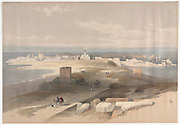 Sur or Tsor, Ancient Tyre from the Isthmus Color lithograph by David Roberts (1796-1864). An engraving reprint by Louis Haghe was published in a the book 'The Holy Land, Syria, Idumea, Arabia, Egypt and Nubia. in 1855 by D. Appleton & Co., 346 & 348 Broadway in New York.