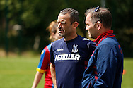 Dean Davenport watches the action unfold during the Pre-Season Friendly match between Crystal Palace LFC and Queens Park Rangers Ladies at the The Stadium, Bromley, United Kingdom on 19 July 2015. Photo by Michael Hulf.