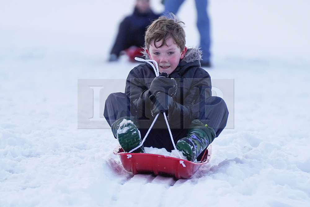 © Licensed to London News Pictures. 08/01/2021. Darlington, UK. Williams Downs,9, enjoys sledging in the snow at Hardwick County Park in Darlington.The Met Office issues yellow weather warning of snow and ice that will be affecting many parts of the UK for today.Photo credit: Ioannis Alexopoulos/LNP
