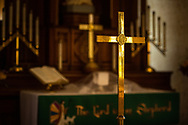 The processional cross and altar on Wednesday, Aug. 26, 2020, at St. Peter's Lutheran Church, LaGrange, Mo. LCMS Communications/Erik M. Lunsford
