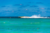 US, Florida, Miami Beach. Speedboat outside the beach.