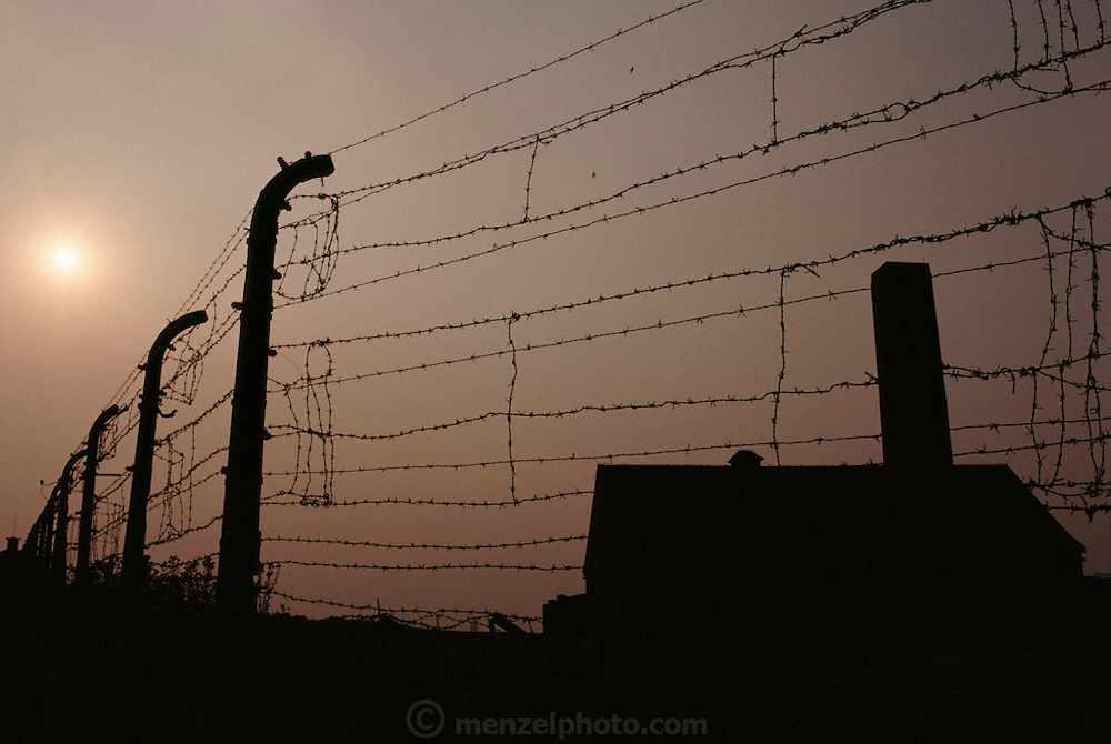 GER_25_xs.Barbed wire fence around Buchenwald concentration camp in East Germany with crematorium used during World War II to exterminate Jews. .