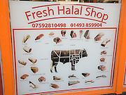Halal butcher shop sign for beef cuts