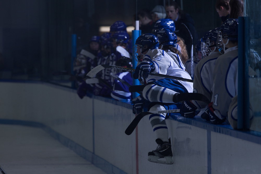 Members of the Colby College women's hockey team on the bench during a NCAA Division III hockey game against Holy Cross on January 13, 2015 in Waterville, ME. (Dustin Satloff/Colby College Athletics)