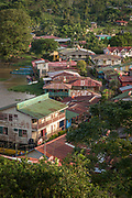 Elevated view of the houses in the town of El Castillo on the bank of the San Juan River, Rio San Juan Department, Nicaragua