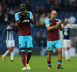 Cheikhou Kouyate and Pablo Zabaleta of West Ham United applaud the fans - Mandatory by-line: Paul Roberts/JMP - 16/09/2017 - FOOTBALL - The Hawthorns - West Bromwich, England - West Bromwich Albion v West Ham United - Premier League