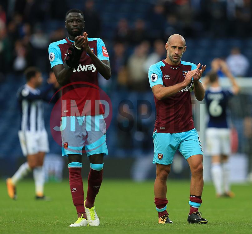 Cheikhou Kouyate and Pablo Zabaleta of West Ham United applaud the fans - Mandatory by-line: Paul Roberts/JMP - 16/09/2017 - FOOTBALL - The Hawthorns - West Bromwich, England - West Bromwich Albion v West Ham United - Premier League