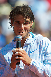 MONTE-CARLO, MONACO - Sunday, April 18, 2010: Rafael Nadal (ESP) after winning the the Men's Singles Final 6-0, 6-1 over Fernando Verdasco (ESP) on day seven of the ATP Masters Series Monte-Carlo at the Monte-Carlo Country Club. This was Nadal's sixth straight victory in the tournament, setting a record for the most Masters Series consecutive victories at a single tournament by any player. (Photo by David Rawcliffe/Propaganda)