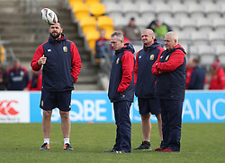 British and Irish Lions head coach Warren Gatland with Andy Farrell, Rob Howley and Graham Rowntree during the captain's run at the Jerry Collins Stadium, Porirua.