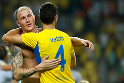 August 3, 2017 - Ljubljana, Slovenia, Slovenia - Senijad Ibrecic of NK Domzale celebrate during the UEFA Europa League Third Qualifying Round match between SC Freibur and NK Domzale at Arena Stozice on 3 rd August , 2017 in Ljubljana, Slovenia. (Credit Image: © Damjan Zibert/NurPhoto via ZUMA Press)