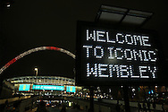 an electronic  sign saying 'Welcome to Iconic Wembley' is seen outside Wembley Stadium before the game. England v Spain, Football international friendly at Wembley Stadium in London on Tuesday 15th November 2016.<br /> pic by John Patrick Fletcher, Andrew Orchard sports photography.