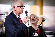 OFS Co-Presidents Lau and Bea Christensen deliver a speech during the grand opening ceremony for Operation Fresh Start on Milwaukee Street in Madison, WI on Thursday, April 11, 2019.