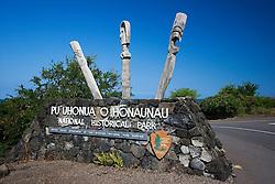 Pu`uhonua o Honaunau or Place of Refuge National Historical Park entrance, Honaunau, Big Island, Hawaii